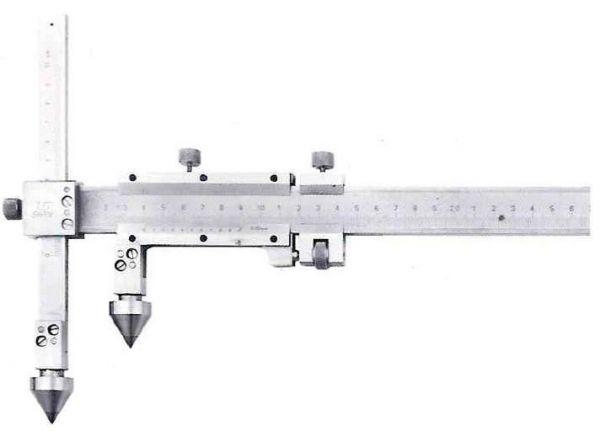 Штангенциркуль спец. ШЦСЦ-2 20-200-0.02 губ.175 для изм. расст. м/у центрами отверстий с конич. изм. вставками и подвижной изм. губ. (Поверка)
